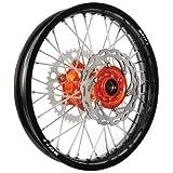 Warp 9 Complete Wheel Kit - Rear 19 x 2.15 Black Rim/Orange Hub/Silver Spokes and Nipples for KTM 250 XC-W 2006-2007