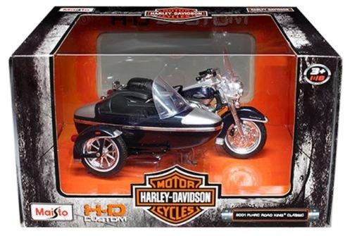 Maisto New 1:18 Harley-Davidson Custom - Blue Silver 2001 FLHRC Road King Classic with Sidecar Motorcycles