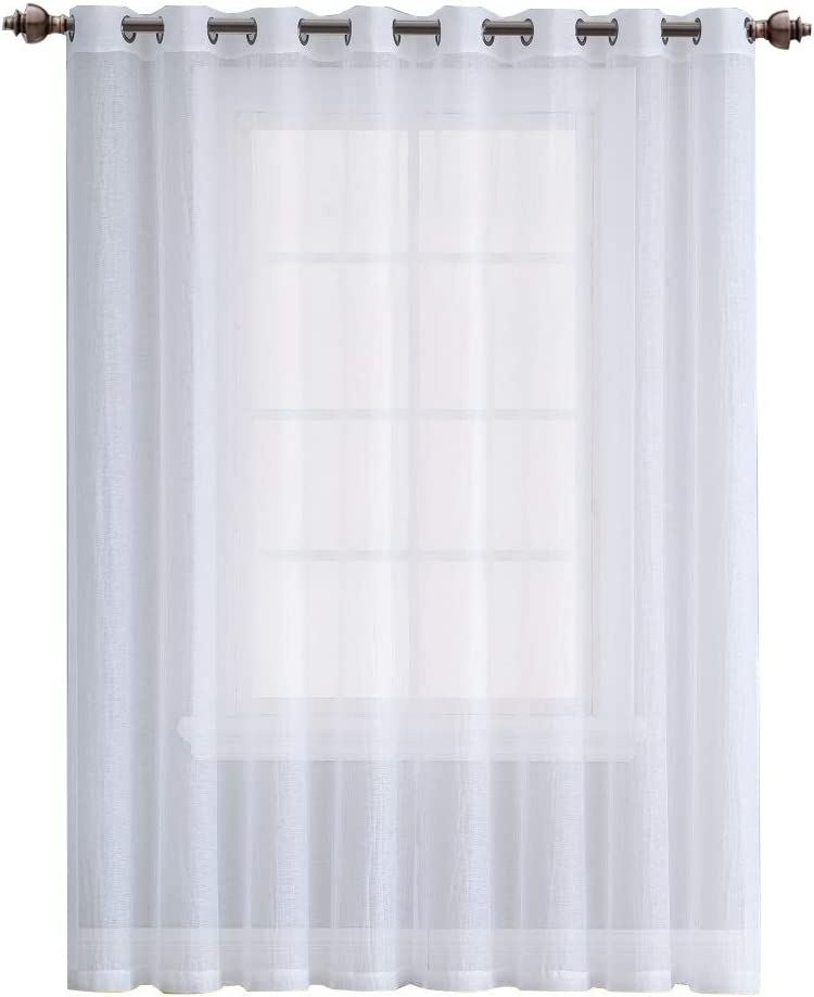 Bedroom or Kids Room Great For Living Room Each Of 2 Panels Is 55 Inch Wide And 84 Inch Long ASATEX Pair Of Regular Length Crushed Semi-Sheer White Color Window Curtains RIT 55 x 84 White