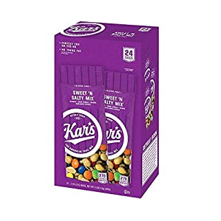 Kar's Nuts Sweet 'N Salty Trail Mix Snacks - High Protein Blend of Peanuts, Sunflower Kernels, Raisins & Chocolate Gems - Bulk Pack of 2 oz Individual Single Serve Bags (Pack of 24) - PACK OF 4