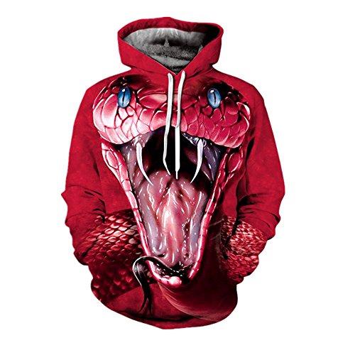 - One tree Unisex Fashion Thin 3D Snake Printed Long Sleeve Sport Hoodie Hooded Sweatshirt Jerseys M
