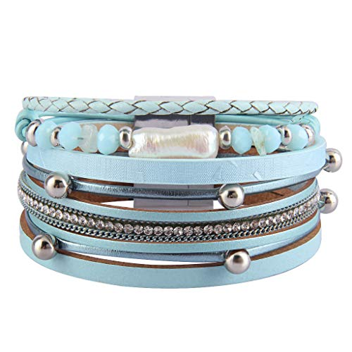 Thick Rope Bracelet - Jenia Leather Wrap Around Bracelet Multi Rope Boho Bracelets Trendy Cuff Bracelets Baroque Pearls Bracelet Bohemian Jewelry Mother's Days Birthday Gifts for Women, Teens Girl, Daughter, Sister