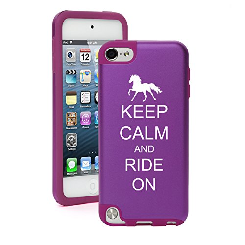 For Apple iPod Touch 5th / 6th Generation Aluminum & Silicone Hard Case Cover Keep Calm and Ride On Horse (Purple)