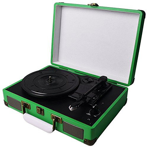 Digitnow! Belt-Drive 3-Speed Portable Vinyl Green Turntable with - Green Record Player