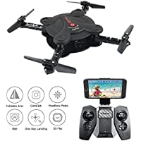 Mini drone,Kingtoys RC Quadcopter Foldable Drone with FPV Camera,Altitude Hold,3D Flips& Rolls, 6-Axis Gyro Gravity Sensor RTF Mini Nano Helicopter