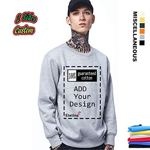 Custom Slim fit Hoodies Sweatshirt Personalized Grey Sweater for Men ()