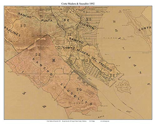 Corte Madera and Sausalito California 1892 - Old Map Custom Reprint Marin County (Marine Madera)