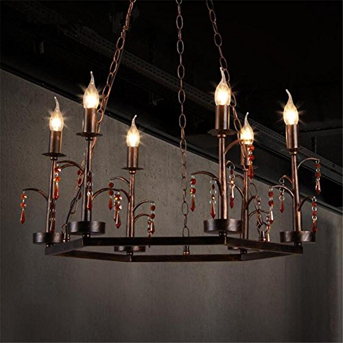 - DHXY Retro Chandelier LOFT Industrial Vintage Rusty Color Wrought Iron Crystal Candle Pendant Ceiling Light 6 Lights For Kitchen, Bar, Cafe, Restaurant