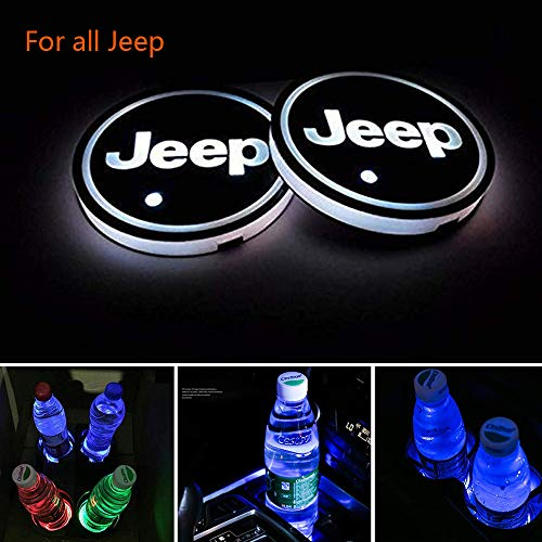 Zhengyong Auto 2PCS LED Car Logo Cup Holder Lights for Jeep,Waterproof Bottle Drinks Coaster Built-in Light 7 Colors Changing USB Charging Car Interior Accessories (Jeep)