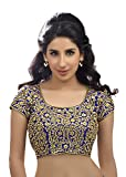 Bridal Swarovski Embroidered Silk Royal Blue Saree Blouse Sari Choli - KP-108