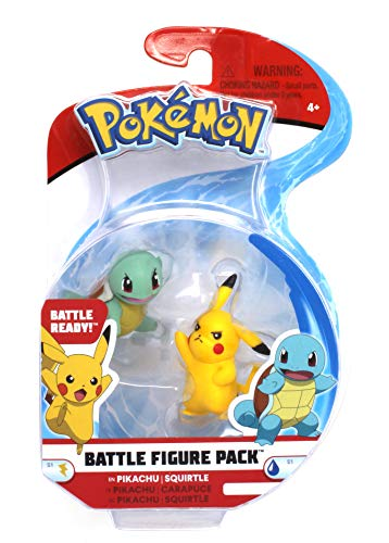 Pokémon 2 Inch Battle Action Figure 2 Pack, Pikachu and Squirtle