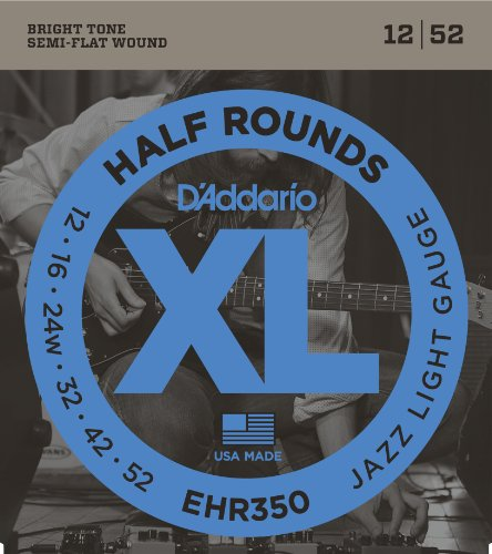 D'Addario EHR350 Half Round Electric Guitar Strings, Jazz Light, 12-52 ()