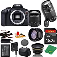 Great Value Bundle for T6 DSLR – 18-55mm STM + 75-300mm III + 2PCS 16GB Memory + Wide Angle + Telephoto Lens + Case