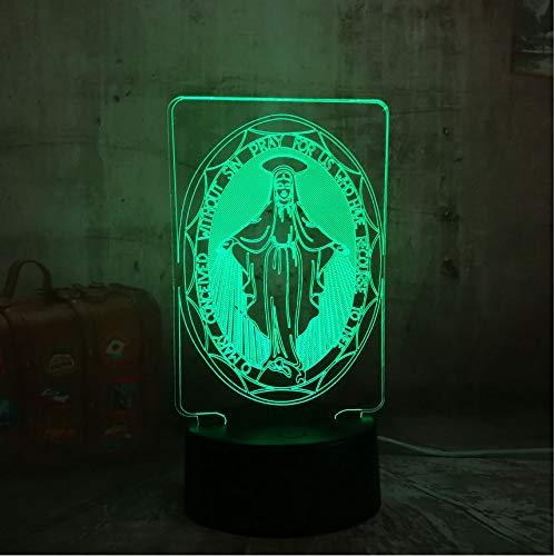 TYWWAN 3D Mesa de escritorio LED Controlador Controlador Controlador RGB 7 Color USB Luz de noche Iluminación de la novedad Portátil Linterna Downlight Adaptador ffe094