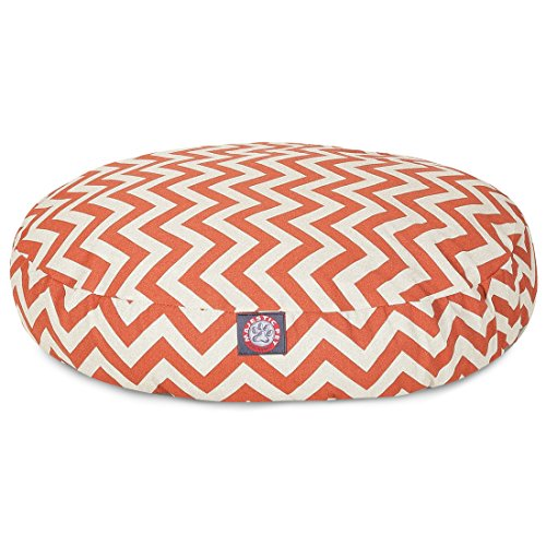 Burnt Orange Chevron Small Round Indoor Outdoor Pet Dog Bed