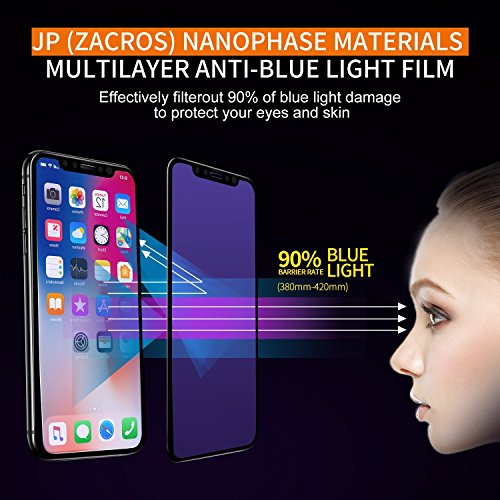 iPhone X Screen Protector Edge to Edge [2-pack], Anti Blue Light Ray Glare Full Coverage Tempered Glass Screen Protector Film for Apple iPhone X iPhone 10 [Black 5.8''] 3D Touch (Anti Blue Light) ()