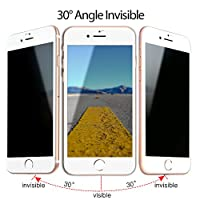 TIQUS 3D Full Coverage Anti-Spy iPhone 8 Plus Privacy Screen Protector, iPhone 7 Plus Tempered Glass Screen Protection [Pack of 2] [White] from Shijihuaxia
