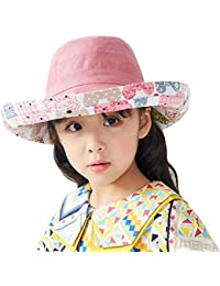 Sun Hat for Girls Summer Wide Brim Hat Beach Cap with Pattern Bears Two Sides Wearing Multiple Styles-Pink