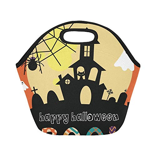 Insulated Neoprene Lunch Bag Happy Halloween Card Design Large Size Reusable Thermal Thick Lunch Tote Bags For Lunch Boxes For Outdoors,work, Office, School