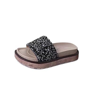 Womens Platform Slides Sequins Sandal Thick Bottom Wedge Summer Outdoor Casual  Flats Black aa14e9c4b403