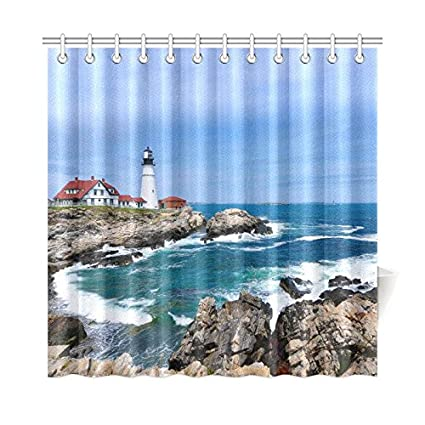 Amazon Com Interestprint Lighthouse Ocean Custom Shower Curtain 72