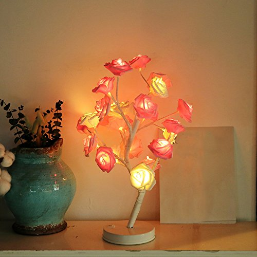 Clearance!!! Glumes 24 LED Pink Rose Tree Rose Flower Lamp Fairy Light| Indoor Outdoor Decoration for Christmas Party Xmas Wedding Holiday Birthday Garden Patio Bedroom New Year (Pink) ()