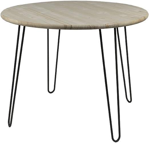 Mesa Retro Hairpin Legs redonda, 100 cm x 77 cm, mesa de madera ...