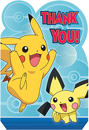 Amscan Pokemon Thank You Postcard, Party Favor -