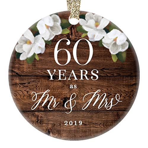 Christmas 2019 Ornament Mr. & Mrs. 60th Sixtieth Wedding Anniversary Ceramic Collectible 60 Sixty Year Marriage Pretty Country Floral 3