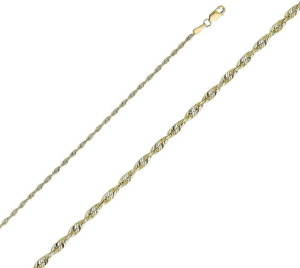 TGDJ® - Cadena de Oro Amarillo o Blanco sólido de 14 Quilates, 2,5 mm, Corte de Diamante, con Cierre de mosquetón