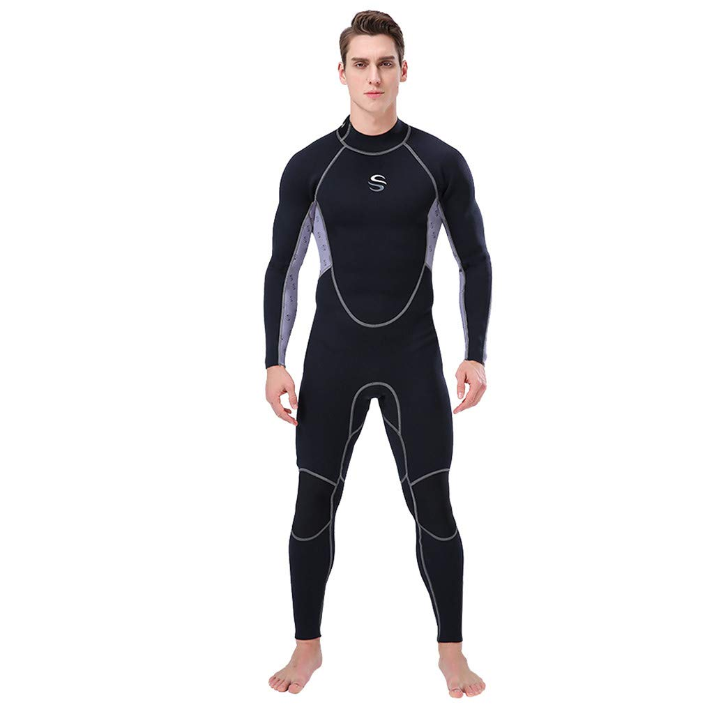 Seaintheson Men's Full Body Wetsuits, 2mm Long Sleeve Back Zip Spring Summer Wetsuit UV Sun Protection Sport Dive Skin Full Suit (Black, S)