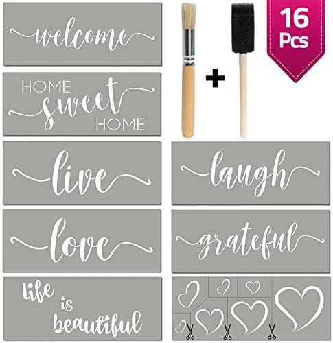 Stencils For Painting on Wood | Cursive Script Sayings Word Paint Stencils: WELCOME LOVE GRATEFUL etc+ Mandala Hearts | 16 pcs Essential Inspirational Stenciling Kit | Rustic Farmhouse DIY Home Decor