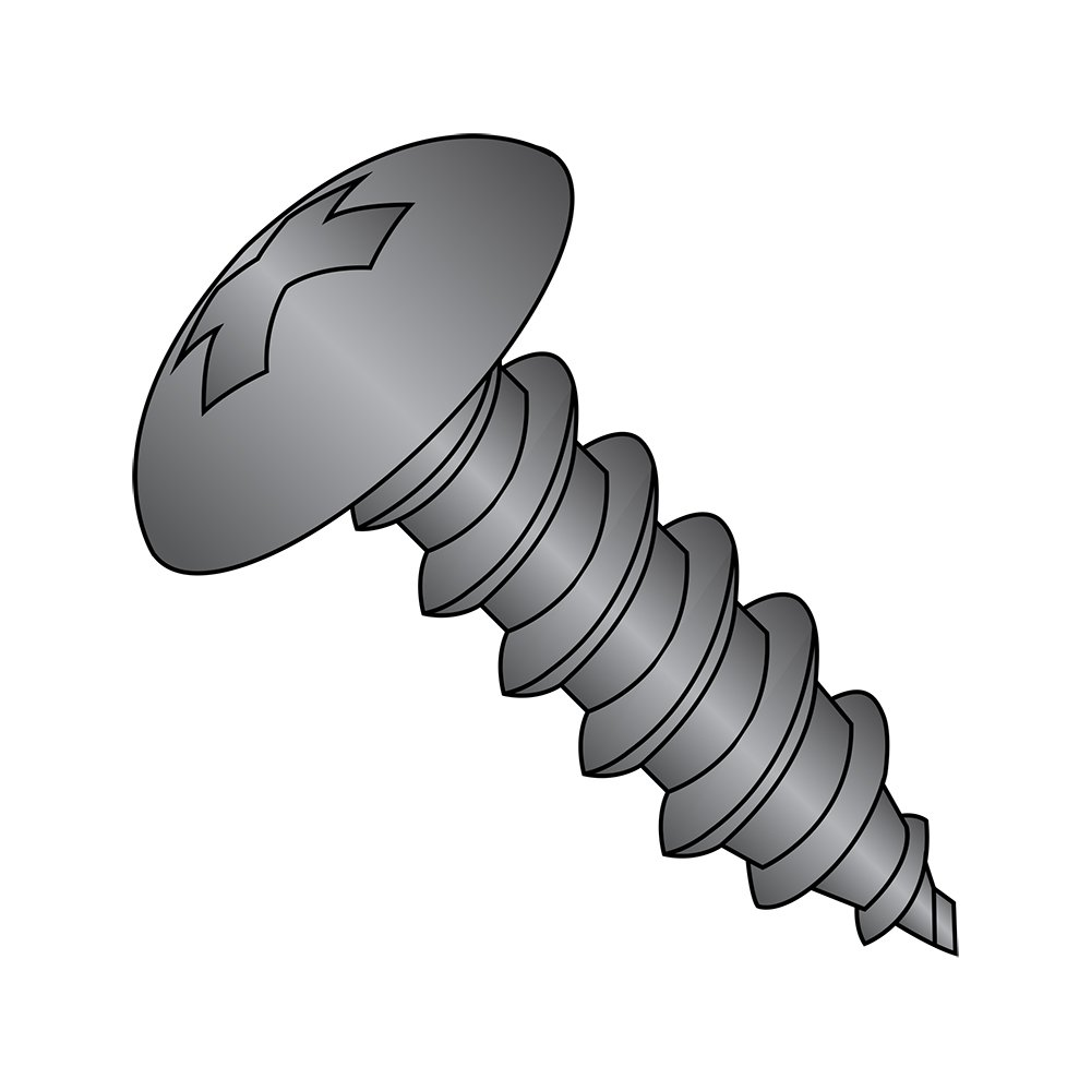 Truss Head 3//8 Length #10-16 Thread Size Type AB Phillips Drive Steel Sheet Metal Screw Black Oxide Finish Pack of 100