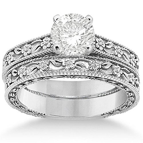- Carved Flower Engagement Ring and Wedding Band Bridal Set with carved floral details in Palladium