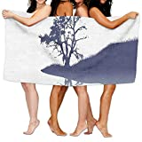 Haixia Microfiber Bath Towels Beach/Bath/Pool Towel 51.2'' X 31.5'' Nature Silhouette of Lonely Tree by Lake with Mirror Effects Melancholy Illustration Full Indigo Baby Blue