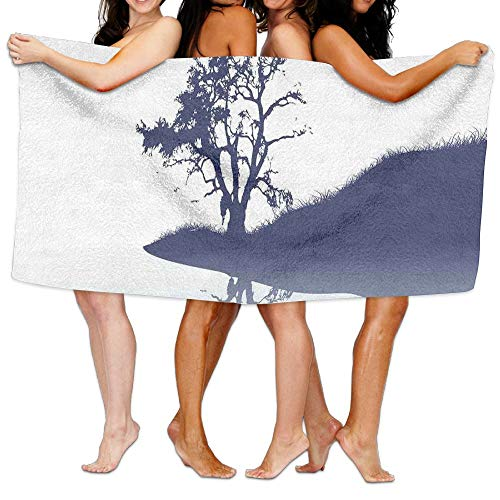 Haixia Microfiber Bath Towels Beach/Bath/Pool Towel 51.2'' X 31.5'' Nature Silhouette of Lonely Tree by Lake with Mirror Effects Melancholy Illustration Full Indigo Baby Blue by Haixia