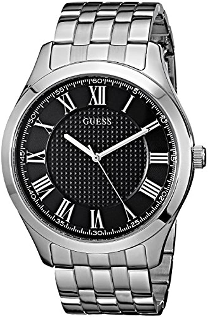 GUESS Men's U0476G1 Dressy Silver-Tone Watch