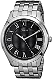 GUESS Men's U0476G1 Dressy Silver-Tone Watch with Black Dial  and Stainless Steel Deployment Buckle