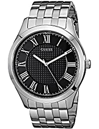 GUESS Men's U0476G1 Classic Silver-Tone Watch with Black Dial