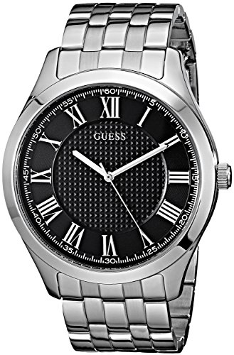 GUESS-Mens-U0476G1-Dressy-Silver-Tone-Watch-with-Black-Dial-and-Stainless-Steel-Deployment-Buckle