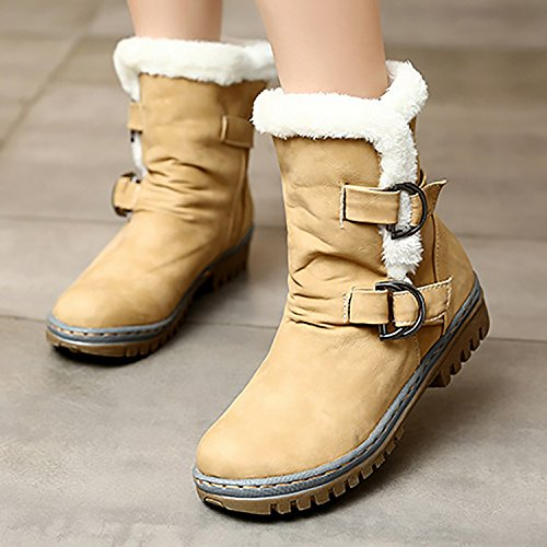 Slip Odema Fur Yellow Ankle Boots Fully Snow Womens Anti Lined 1qvqXnr