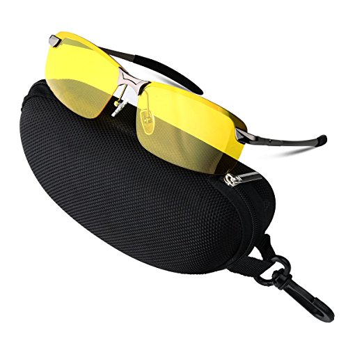 COOXER Night Driving Glasses Anti-glare Polarized - HD Vision Sports Style Yellow Tint Polycarbonate Lens, New UV400 Eyewear Safety Sunglasses for Men and Women