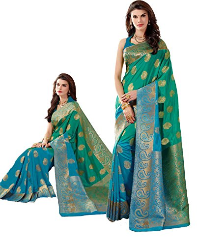 Womens-Tussar-Silk-Saree-SET-with-Fall-Silk-Petticoat-and-2-unstitched-Blouses