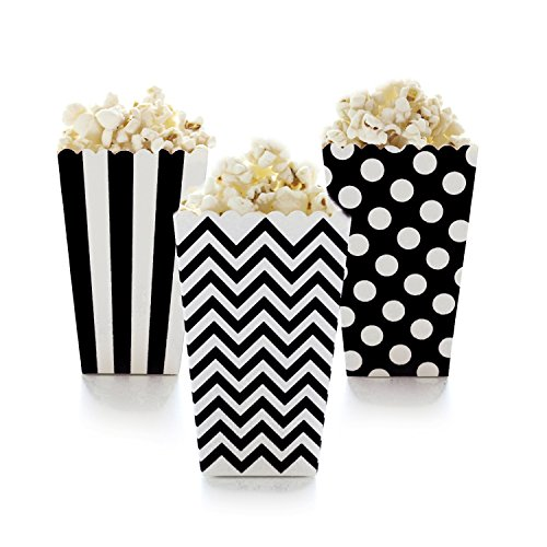 Famoby 36 pcs Black,White Chevron Stripe Polka Dot Paper Popcorn Boxes ()