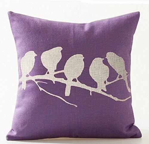 Birds in Tree Branch Purple Ground Cotton Linen Throw Pillow
