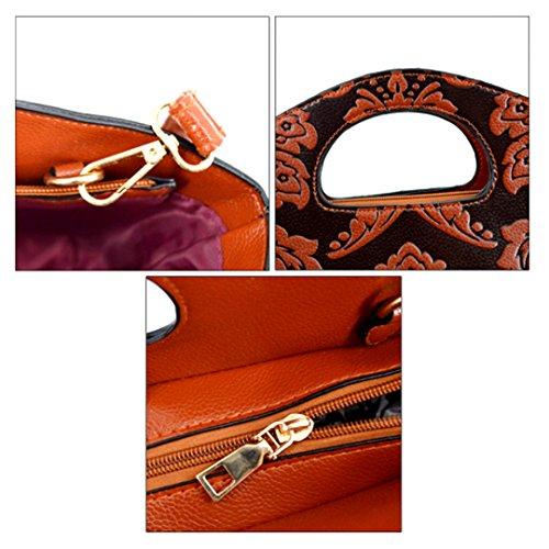 Shoulder Vintage Tote Floral Dumpling ZLMBAGUS Handbag Embossing Crossbody Women Brown Shape Pattern Bag Xwzqxw6FUI