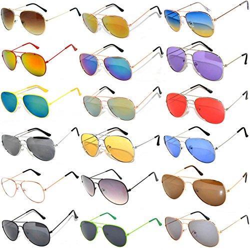 18 Pack Aviator Eyeglasses Metal Gold, Silver, Black Frame Colored Mirror Lens OWL. (Wholesale-18, - Aviators 18k