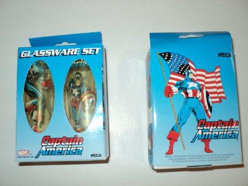 Marvel Captain America Glassware Shooter Shot Glass Set (Shot Glass Captain America)