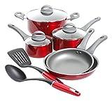 Oster Herscher 10pc Non-Stick Aluminum Cookware Set, Translucent Red