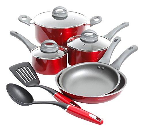 Oster Herscher 10pc Non-Stick Aluminum Cookware Set, Translucent Red (Oster Cookware Set compare prices)